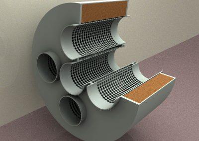 Cámara reactiva tubos perforados